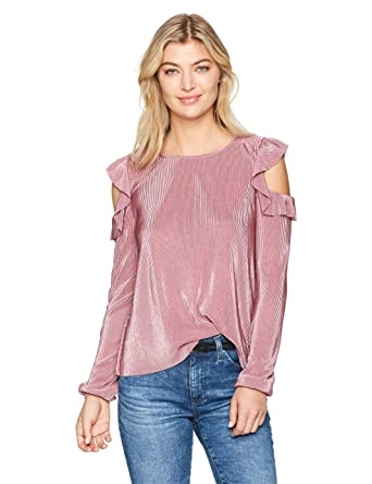 1d6e31850ad940 Freshman 1996 Women s Long Sleeve Cold Shoulder with Ruffle at Amazon  Women s Clothing store