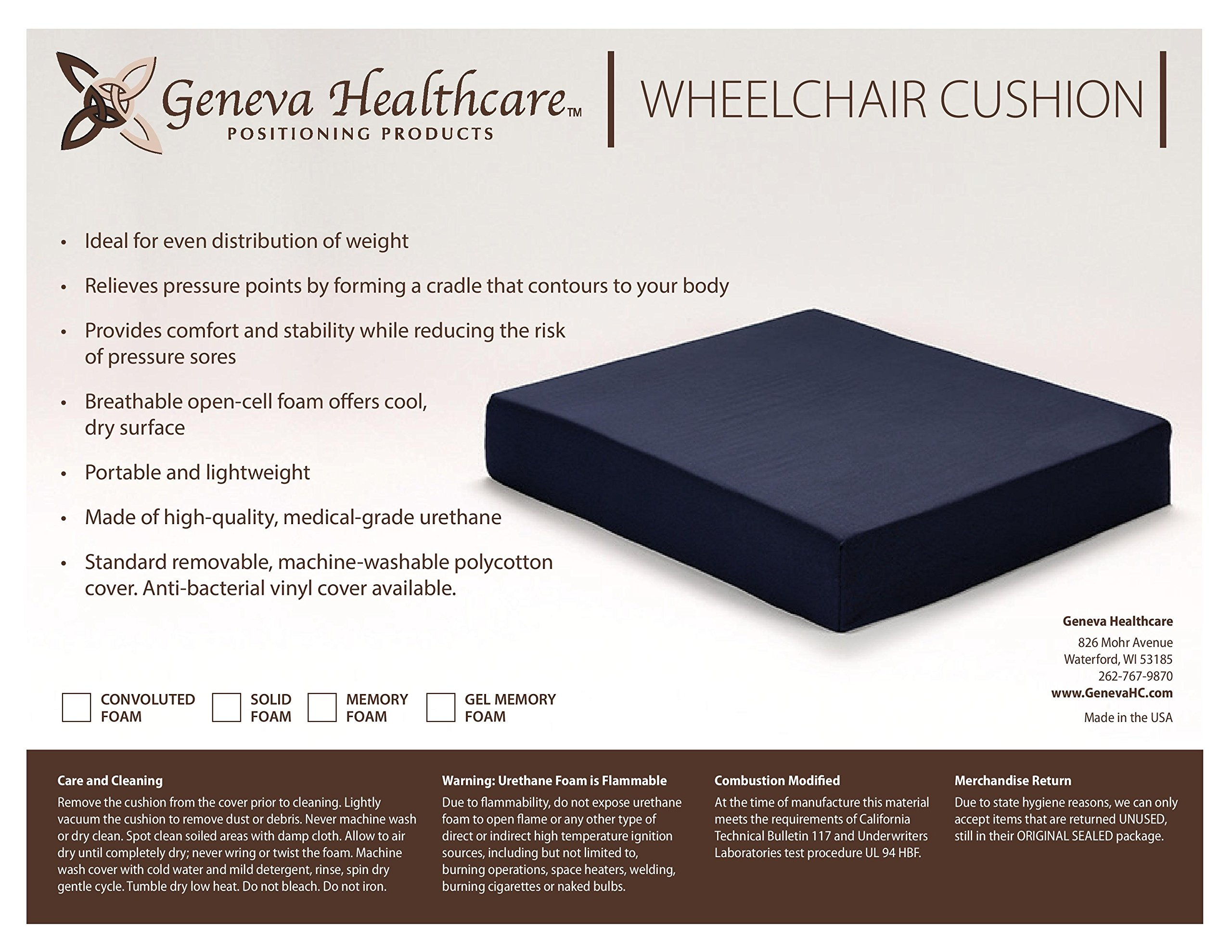 Geneva Healthcare Memory Foam Wheelchair Seat Cushion Pad with Cotton Cover - 16'' x 18'' x 2'' - 8/CS