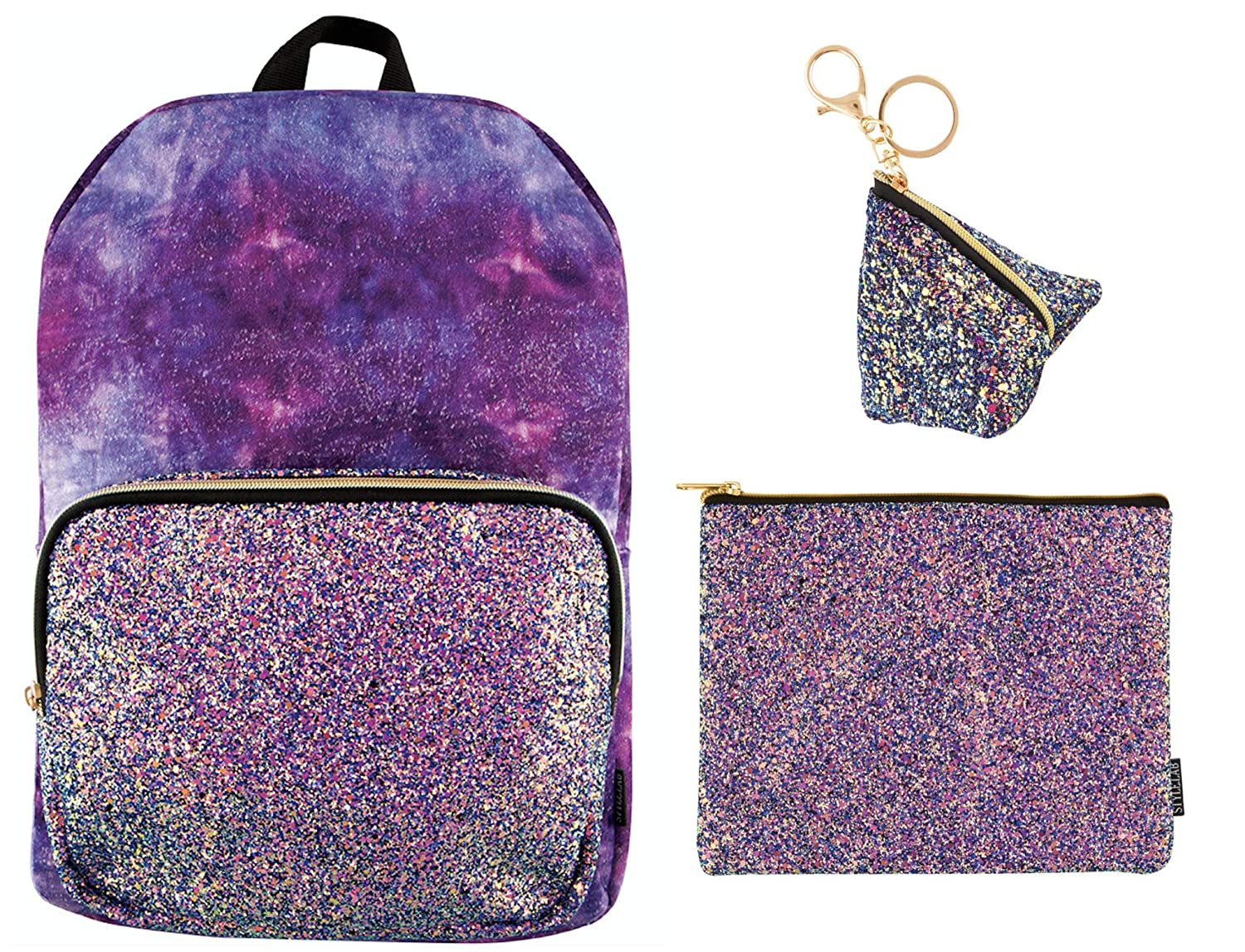 Bag Charm! Matching Chunky Glitter Pouch Style.Lab Crushed Velvet with Chunky Glitter 16 Backpack