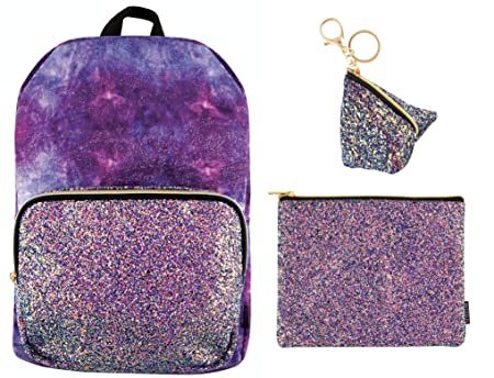 Style.Lab Crushed Velvet with Chunky Glitter 16 Backpack Matching Chunky Glitter Pouch Bag Charm