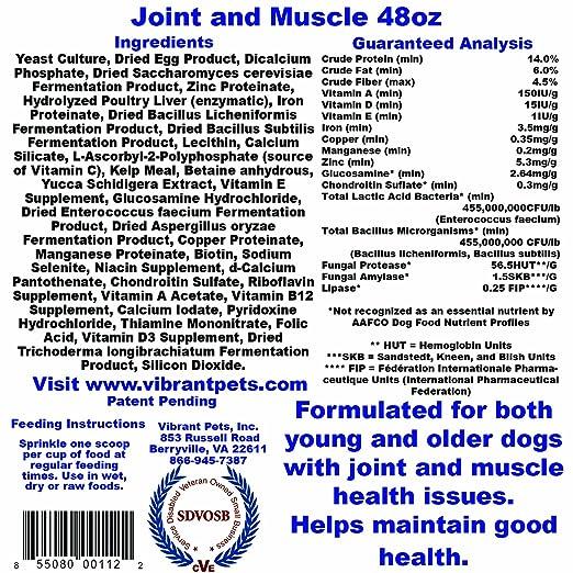 Amazon.com: Vibrante Pets conjunta y la dieta suplementos ...