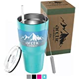 Arctic Tumblers 30 oz Cup with Straw - Matte Turquoise / Teal Powder Coat - Stainless Steel Coffee Mug - Camping & Travel Tumbler - Double Wall Vacuum Insulated Thermos- Includes Gift Box!