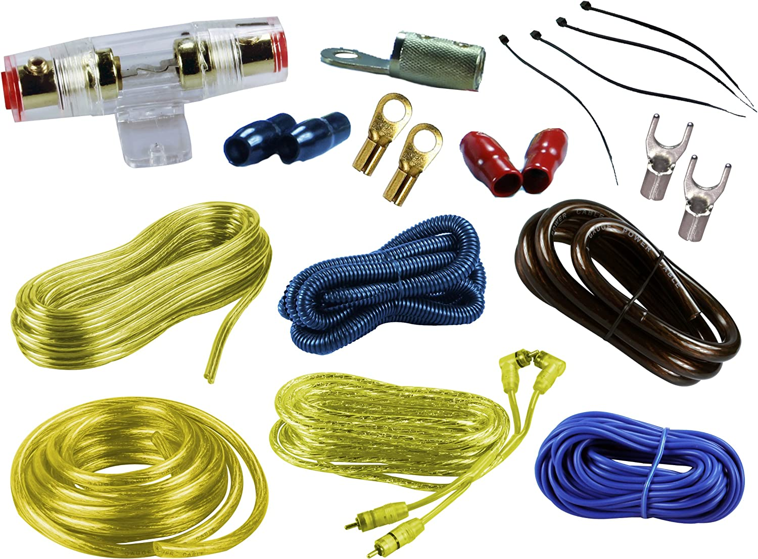 Yellow Color Absolute USA KIT-4YL 2000 Watts Complete Amplifier Hookup Kit