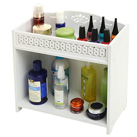 Amazon.com: 2 Tier White Bathroom Shelf Rack, Countertop Storage ...