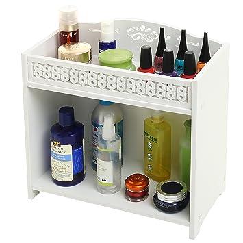 Amazing 2 Tier White Bathroom Shelf Rack Countertop Storage Download Free Architecture Designs Aeocymadebymaigaardcom