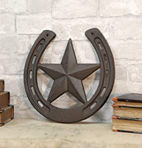 "Ebros Gift 10"" Wide Rustic Cast Iron Metal Horseshoe With Western Star Wall Decor Art Plaque Cutout Southwest Country Cowboy Rodeo Racing Horses Horseshoes Vintage Decorative Accent For Walls Or Tables"