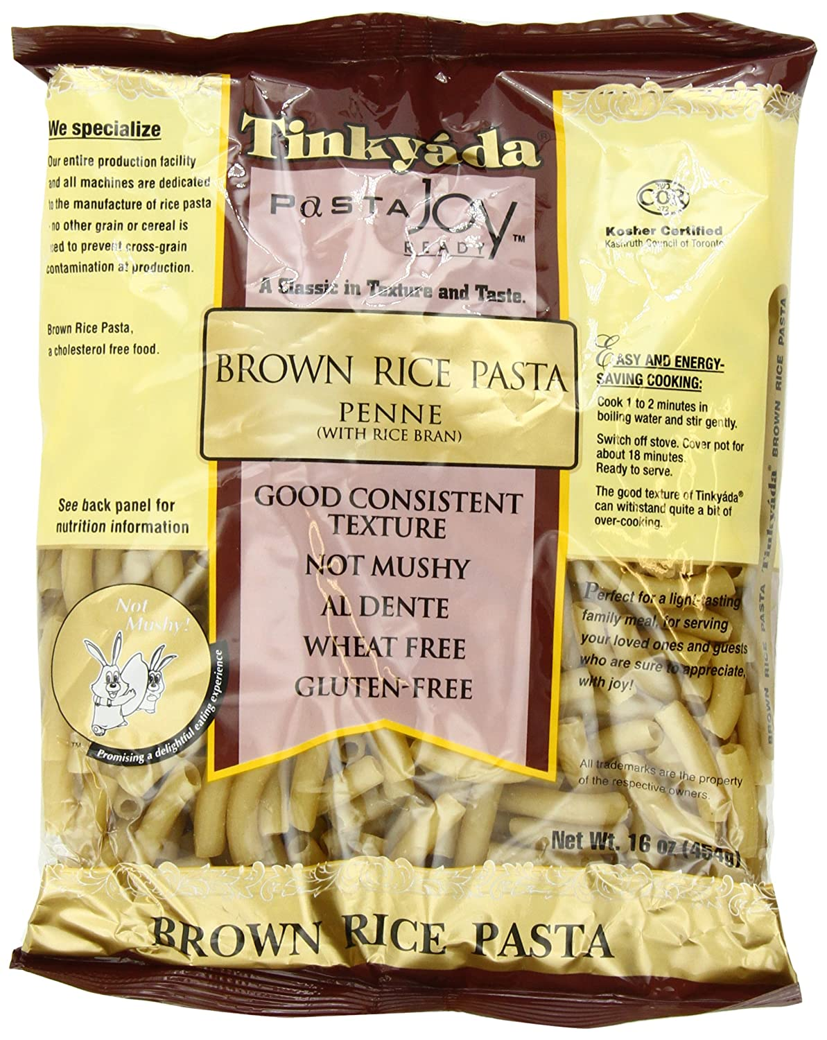 Amazon : Tinkyada Brown Rice Pasta, Penne, 16ounce (pack Of 6) :  Gluten Free Pasta : Grocery & Gourmet Food