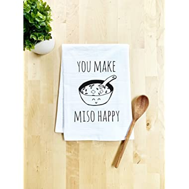 Funny/Sweet Kitchen Cloth ~ Funny Dish Towel ~ You Make Miso Happy Tea Towel ~ White