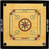 GSI Khel Mandir 35 Inch Matte Finish Carrom Board with Coins, Striker and Powder (Beige and Black)