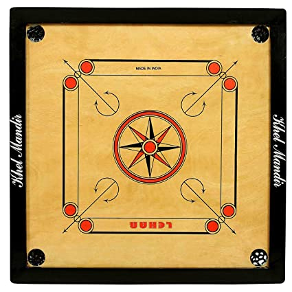Gsi Khel Mandir Gloss Finish Carrom Board with Coins, Striker and Powder (Brown, (Practice 33 inch 8mm)