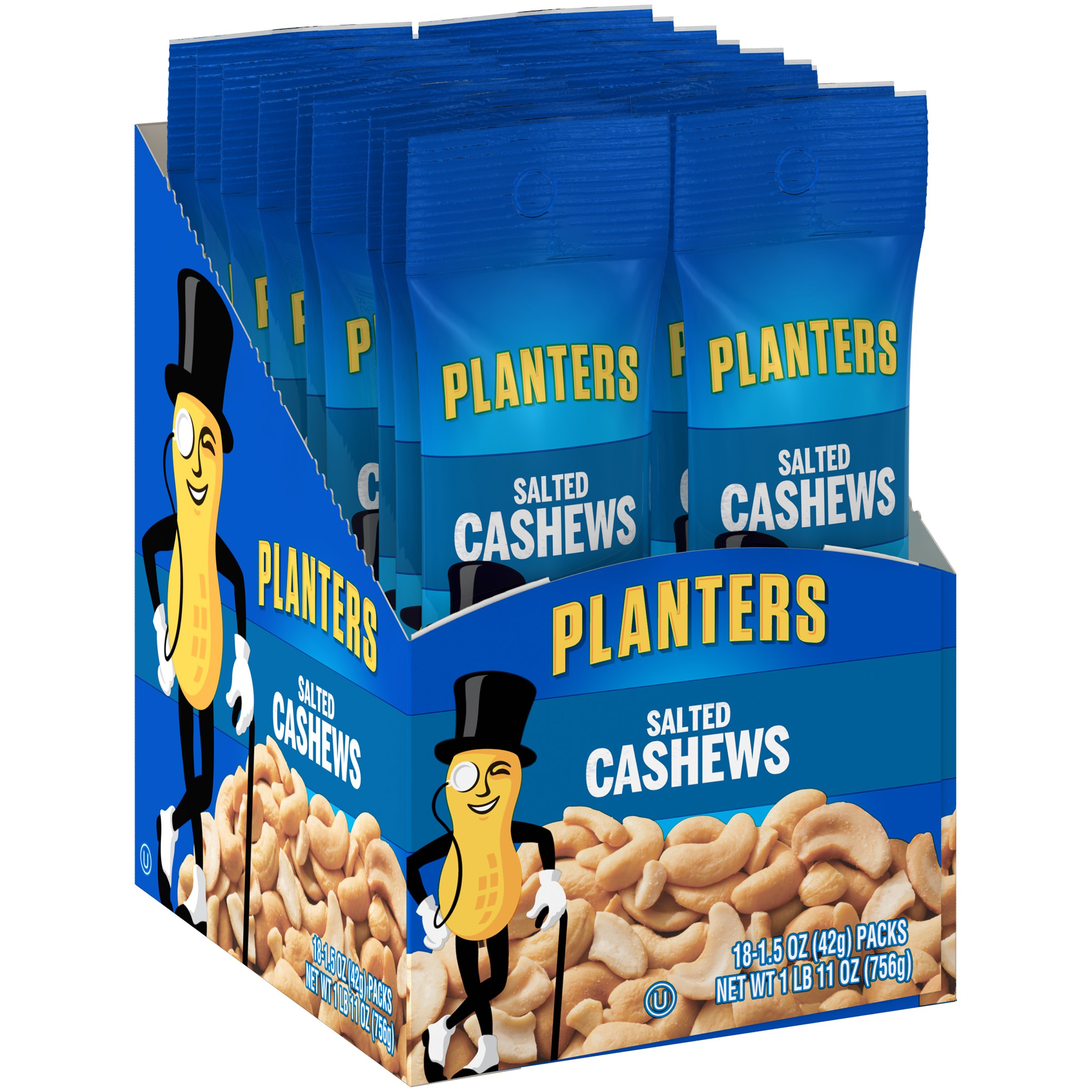 Planters Salted Cashews (1.5oz, Pack of 18)