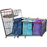 CLUB CART Lotus Trolley Bag - Wide version for Costco/Sams/Aldis. w/LRG COOLER Bag & Egg/Wine holder! Foldable, Reusable Grocery Bags sized for USA. Large Eco-friendly washable grocery tote bag