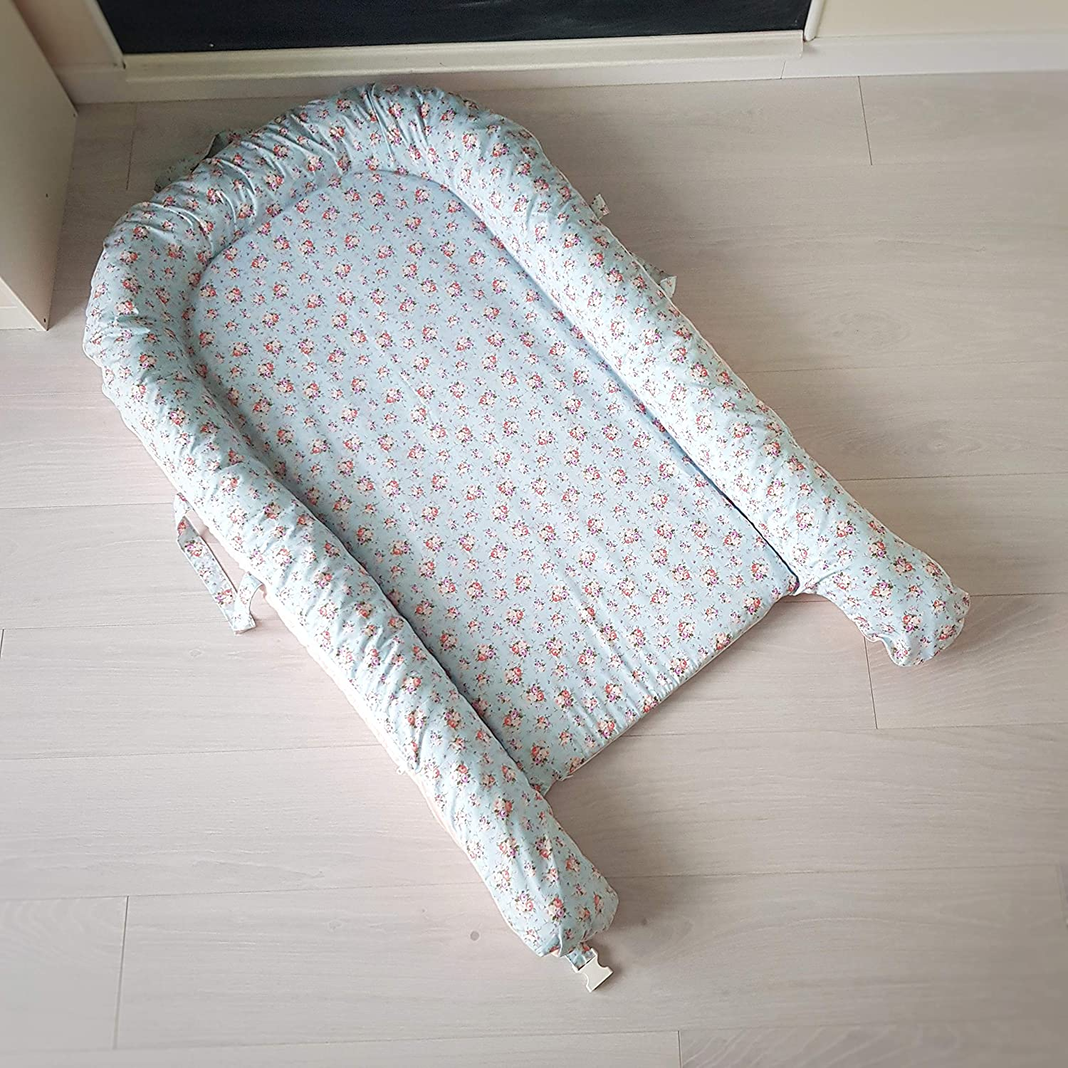 Toddler nest with removable cover and hard mattress Cosleeper bed Co sleeper for baby Snuggle nest Baby lounger Shabby Chic print Sleeping nest