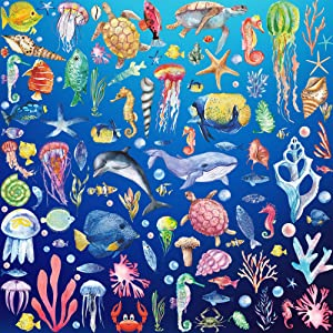 8 Sheets of 12inch x 18inch 3D Removable Ocean Animals Wall Sticker Under The Sea Wall Decor Fish Sharks Turtles Coral Whales Wall Decal for Kids Babys Girls Bedroom Nursery Bathroom Living Room