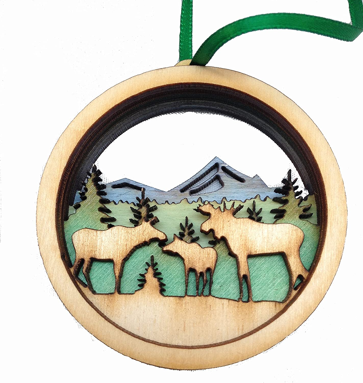 Wooden 3D Holiday Ornament Moose Scene - Made in Maine - Gift Boxed