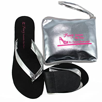 8c97e1c865369 Foldable Flip Flops Thongs Girls Silver Sandals with Expandable Tote Bag  Great for Weddings Parties