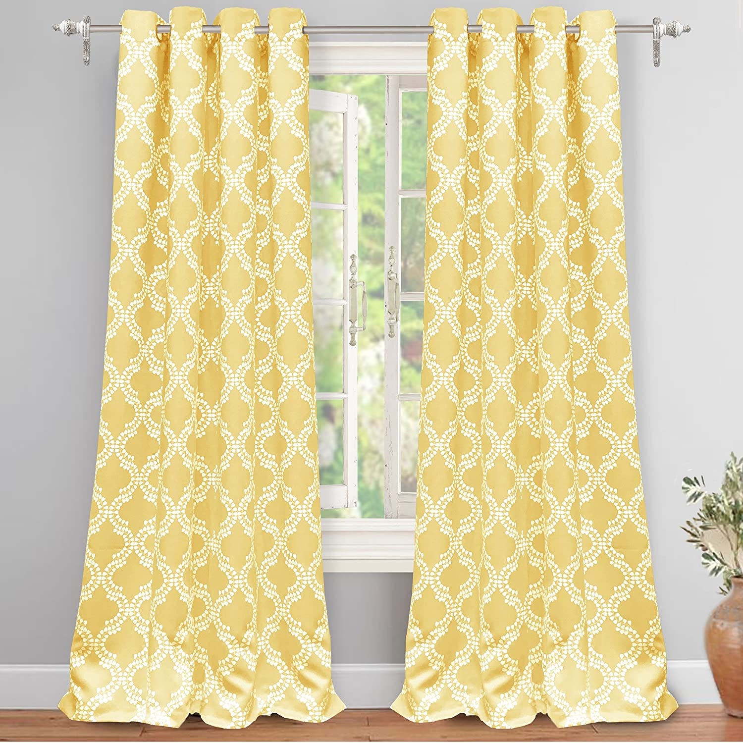 DriftAway Drift Away Julianna Thermal Insulated Blackout/Room Darkening Grommet Unlined Window Curtains Yellow