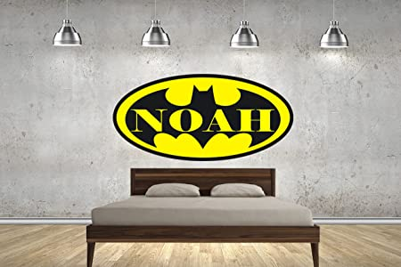 Customise4u new batman logo personalised with your childrens name named kids wall stickers wall art