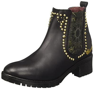 Shoes_Country Red Flower, Botas Chelsea para Mujer, Negro, 39 EU Desigual