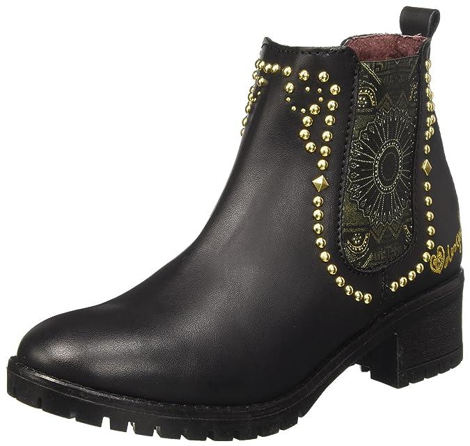 Desigual Shoes_Mid Rain Boot BN&Red, Bottes Chelsea Femme, Noir (Negro), 41 EU