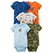 Carter's Baby Boys 5 Pack Bodysuit Set, Dino/Camo, 24 Months