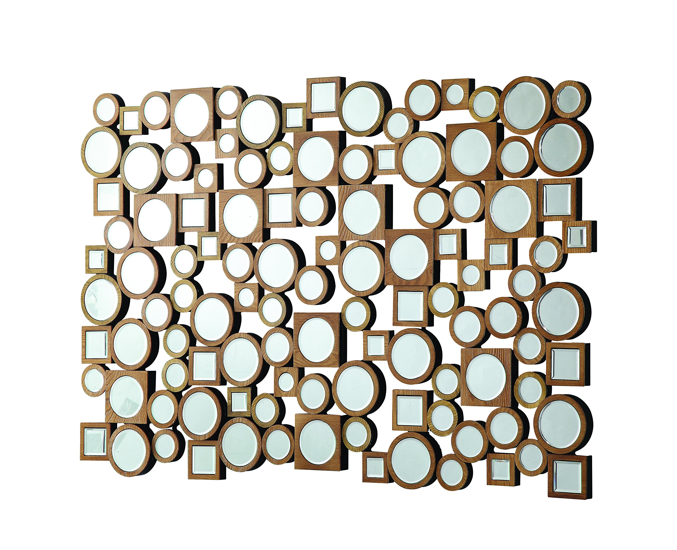 Coaster Home Furnishings Wall Mirror with Round and Square Shapes Nitro Lacquer and Brown by Coaster Home Furnishings