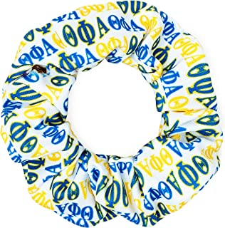 product image for Theta Phi Alpha Sorority Scrunchies Officially Licensed Greek Letters Print Ponytail Holders Scrunchie King Made in the USA