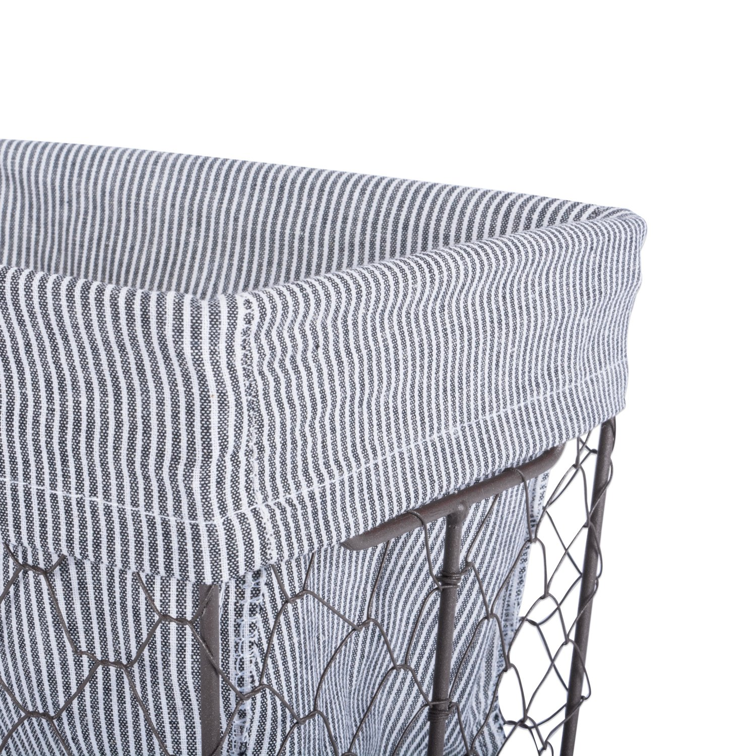 DII COMINHKPR137416 Vintage Chicken Wire Baskets for Storage Removable Fabric Liner Set of 3 Stripes
