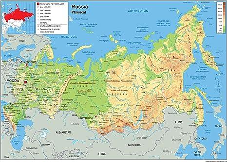 Tiger Moon Rusia Mapa Mural de física – Papel Laminado [ga ...