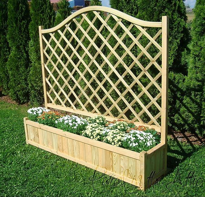 De madera jardín doble flores Jardinera con celosía para plantas trepadoras apoyo: Amazon.es: Jardín