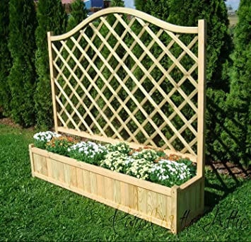 Wooden Garden Double Flower Planter With Trellis For Climbing Plant
