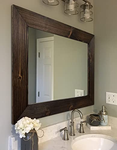 Amazon Com Shiplap Rustic Wood Framed Mirror 20 Stain Colors Mirror For Wall Rustic Decor Rectangular Mirror Vanity Bathroom Mirror Wall Mirror Bathroom Mirror Full Length Mirror Big Mirror Handmade