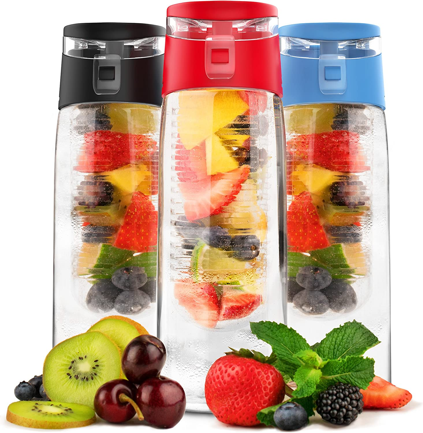Vremi 24 Oz Fruit Infused Water Bottle - BPA Free Sports Water Bottle with Fruit Infuser Filter and Flip Top Lid Cap - Large Tritan Plastic Eco Drinking Clear Reusable Travel Water Bottles