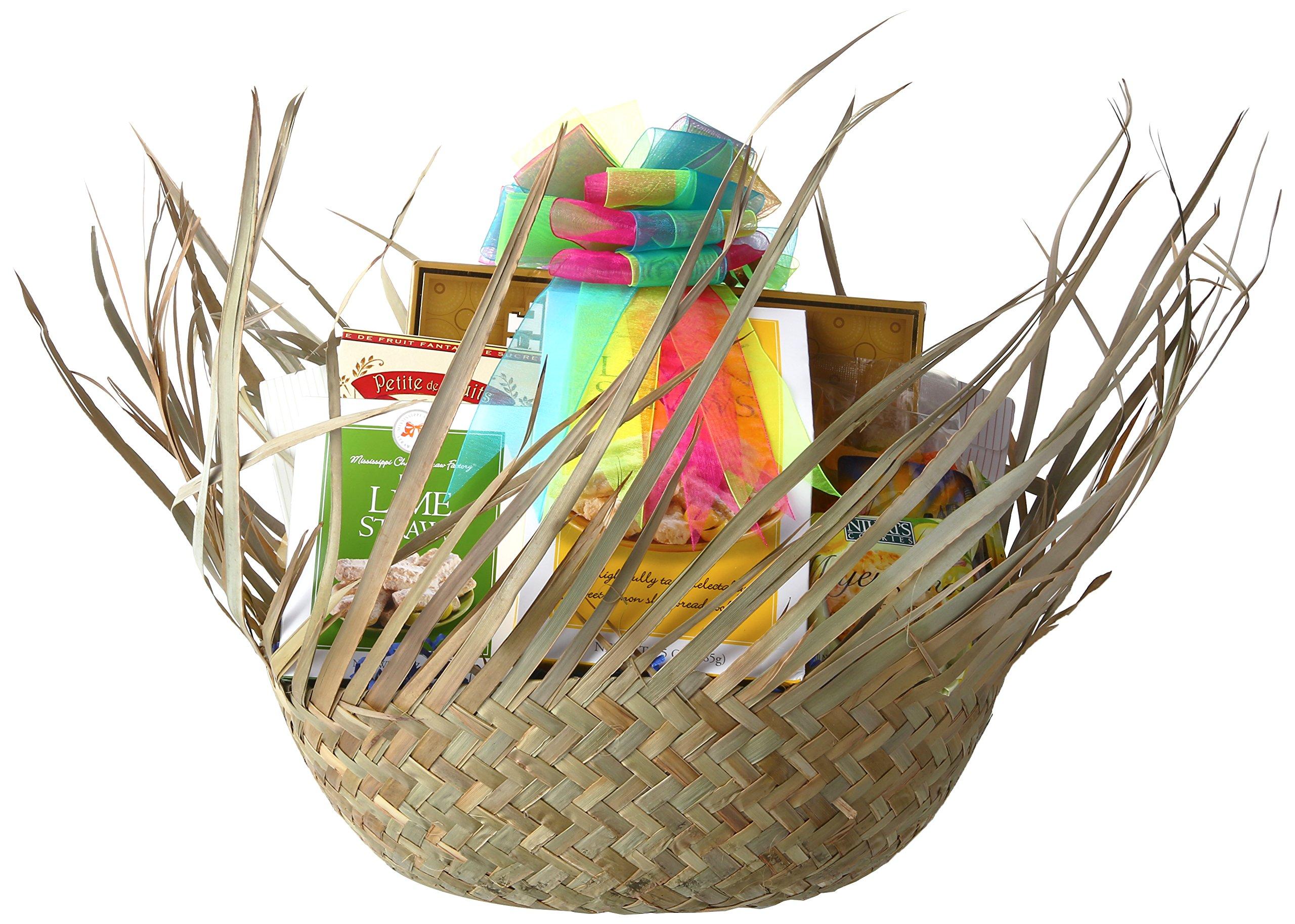 Gift Basket Village - 5 O'clock Somewhere, Tropical Gift Basket - With 16'' Beachcomber Hat Filled with Summer Time Favorites (medium)