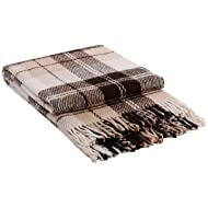 """Luxury Wool Blanket 55""""x79"""" by CG Home – Super Warm and Soft Brown Blanket for Cozy Fall and Winter Days –Tartan Plaid Throw Blanket Accents Any Home Décor by CG Home"""