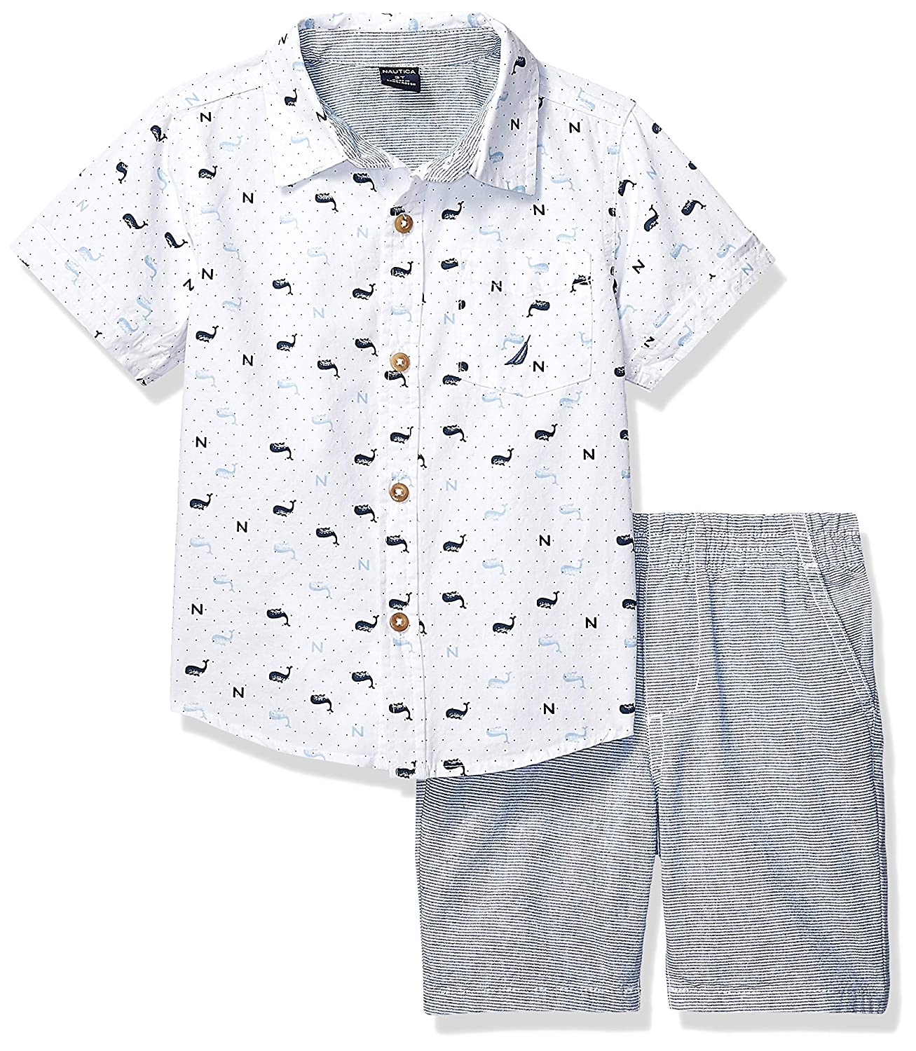 Boys Toddler 2 Pieces Shirt Shorts Set White Print 3T KHQ Nautica Sets