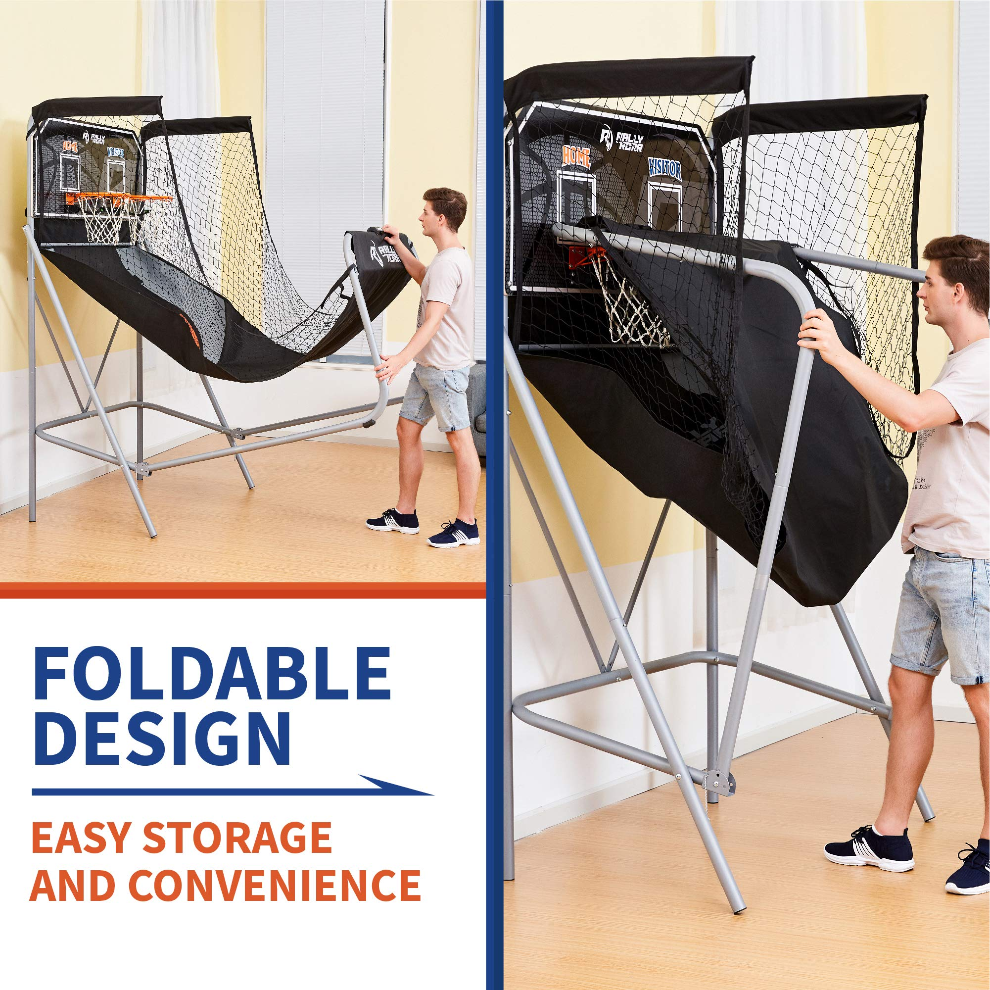Classic Shootout Basketball Arcade Game, Home Dual Shot with LED Lights and Scorer - 8-Option Interactive Indoor Basketball Hoop Game with Double Hoops, 7 Basketballs, Pump - Foldable Space Saver by Rally and Roar (Image #3)