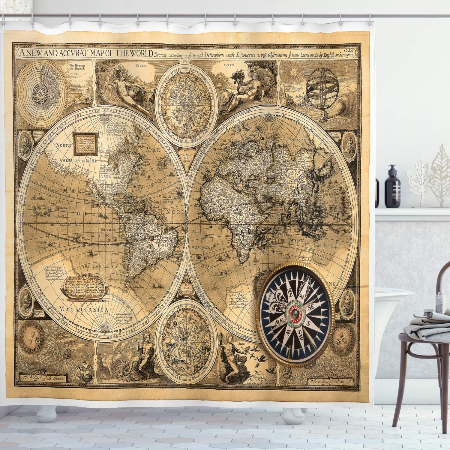 Ambesonne Wanderlust Shower Curtain, Old Vintage Print os Map by 1626 a New and Accvrat World Historical Manuscript Art Design, Cloth Fabric Bathroom Decor Set with Hooks, 84