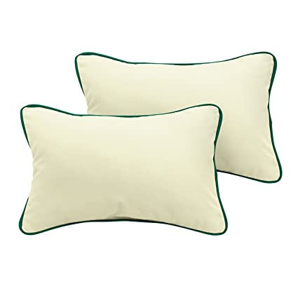 Set of 2 Mozaic Company AZPS7749 Indoor Outdoor Sunbrella Lumbar Pillows with Corded Edges Canvas Navy Blue /& Canvas Natural Ivory 12 x 18