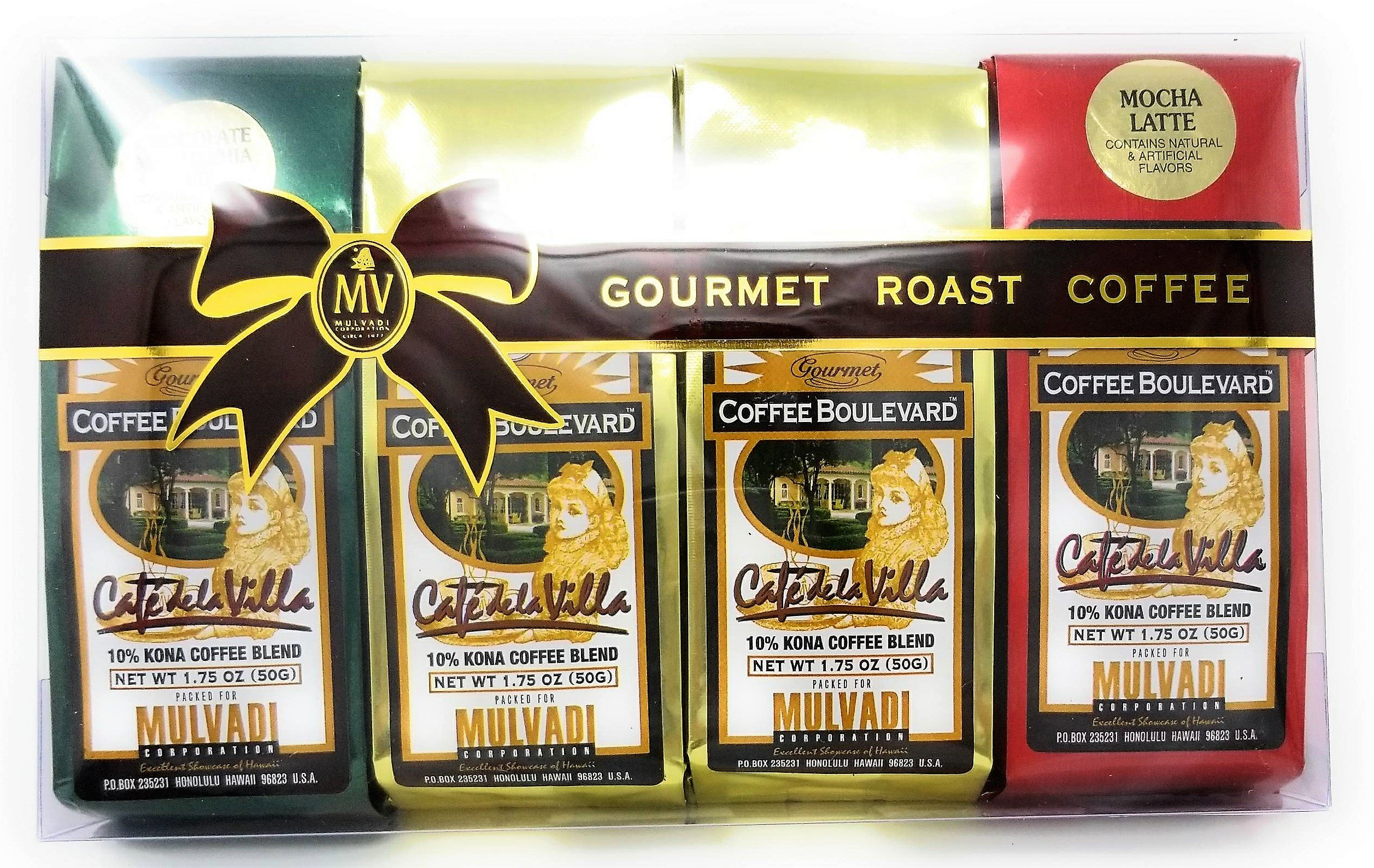 Gourmet Roast Kona Coffee Gift Pack, Ground, 3 Flavors, 4 Bags (1.75 Oz., 50g)