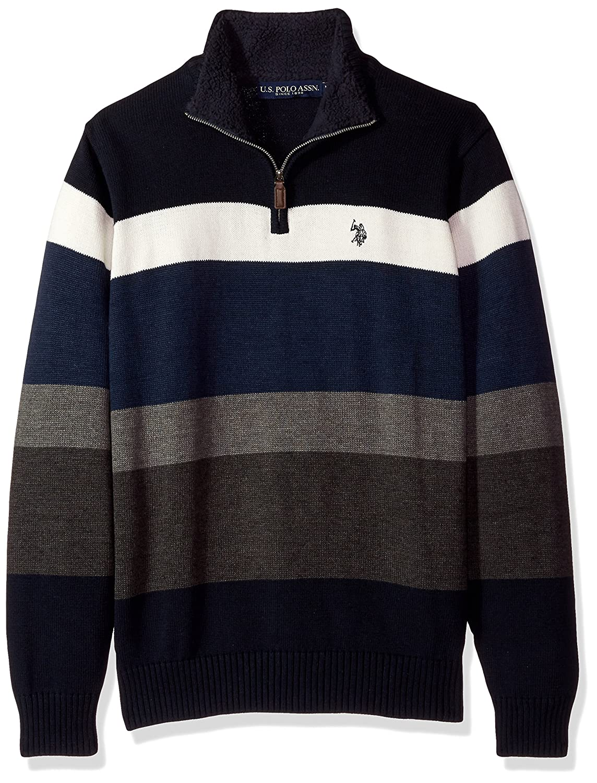 U.S. Polo Assn. Mens Standard Striped 1/4 Zip Sweater W/Sherpa Neck ACUF7S5788
