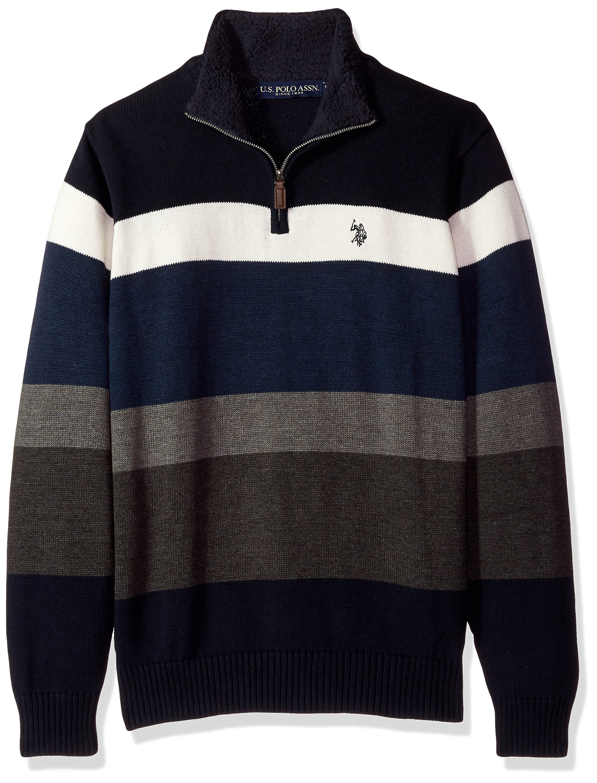 U.S. Polo Assn. Men's Striped 1/4 Zip Sweater W/Sherpa Neck, Navy, Large by U.S. Polo Assn.