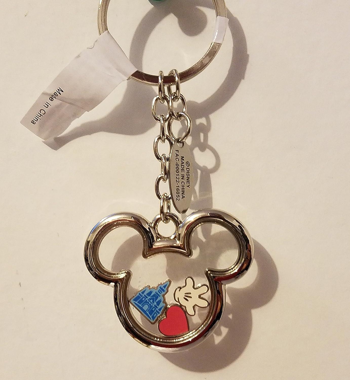 Disney Parks Walt Disney World Mickey Mouse Shape Metal Keychain w/ Charms