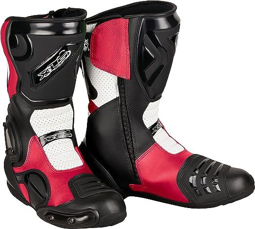 Xls Motorradstiefel Hochwertige Racing Boots Touringstiefel Lederstiefel Schwarz Weiß Rot 44 Auto