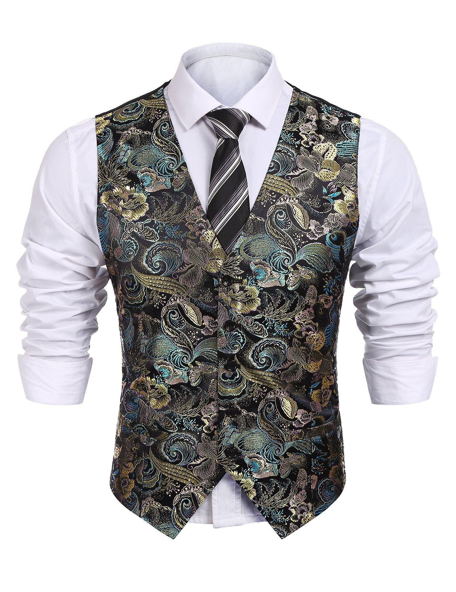 COOFANDY Mens Formal Paisley Dress Vests Dragon Graphic Fashion Waistcoat for Suit Tuxedo (XX-Large, Black)