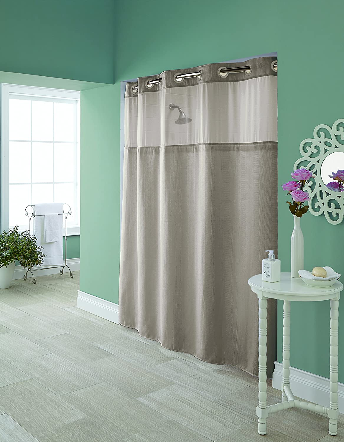 Amazon.com: Hookless RBH95MY980 Hudson Herringbone Shower Curtain With  Snap In PEVA Liner   Bright White: Home U0026 Kitchen