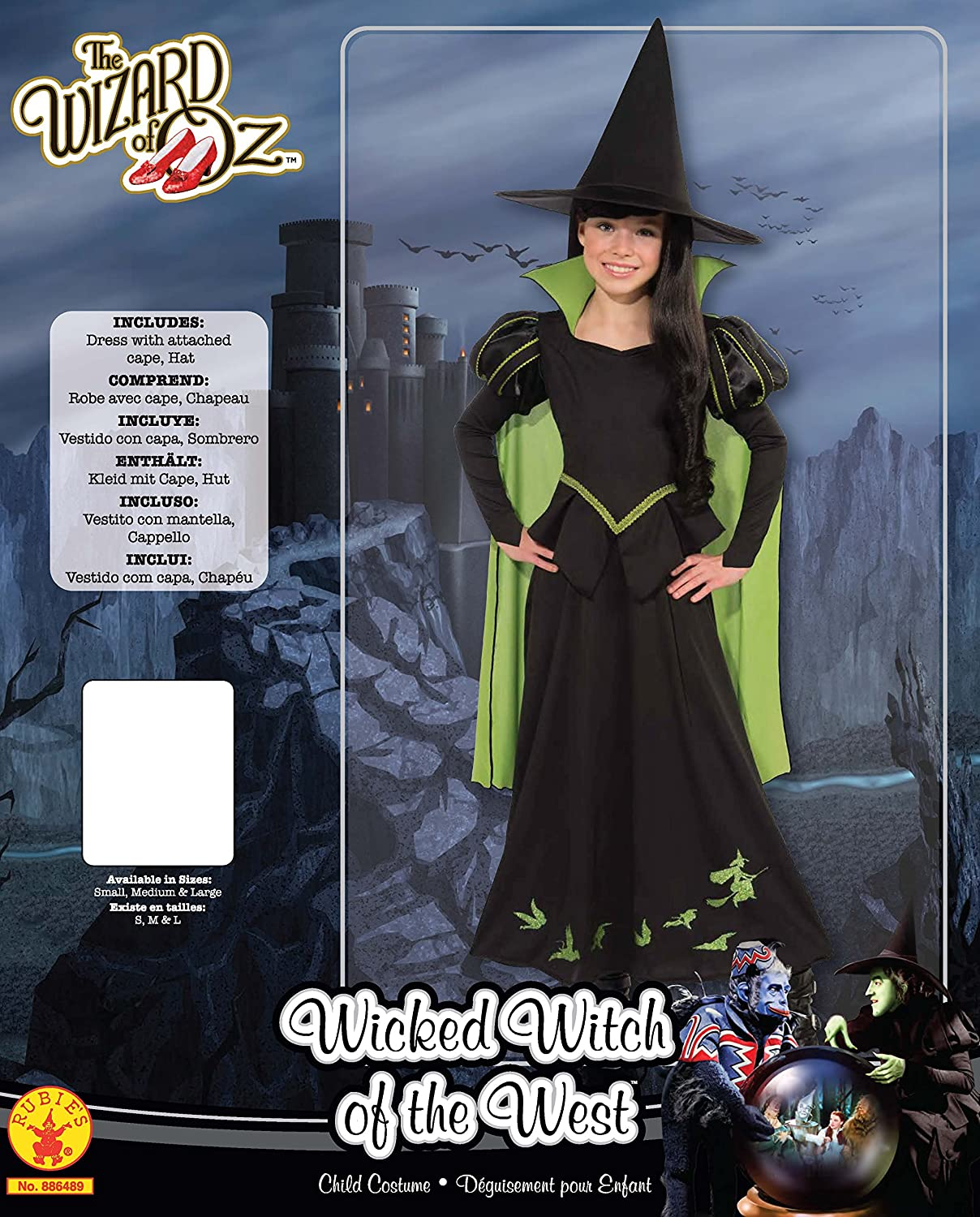 Halloween//Wizard of Oz//WICKED WITCH OF THE WEST Child/'s Costume Cape /& Hat