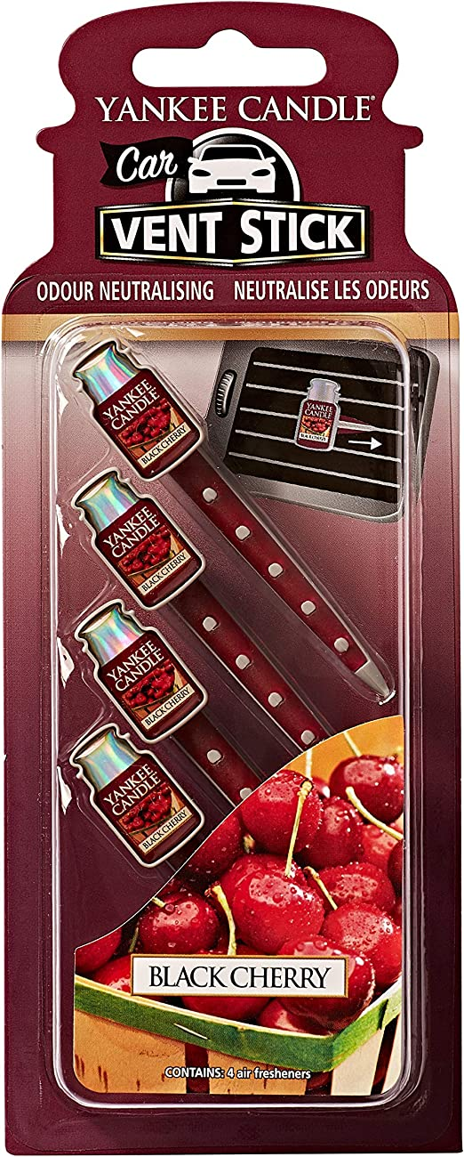 YANKEE CANDLE 1194396 Car Vent Stick Profumatore per Auto, Black Cherry, Rosso, Sticks, Set di 24