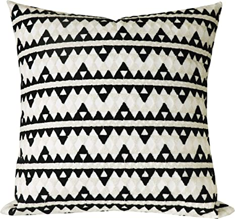 Amazon Com Slow Cow Cotton Embroidery Decorative Throw Pillow Cover For Couch Sofa Bedroom Modern Geometric Cushion Cover Pillow Cover 18 X 18 Inches Cream Mixed Black Home Kitchen