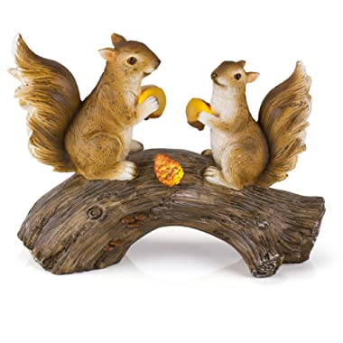 Squirrels on a Log Solar Garden Light